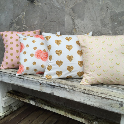 Pink/gold dot, gold dot/floral, gold heart, blush/gold arrow cushion cover