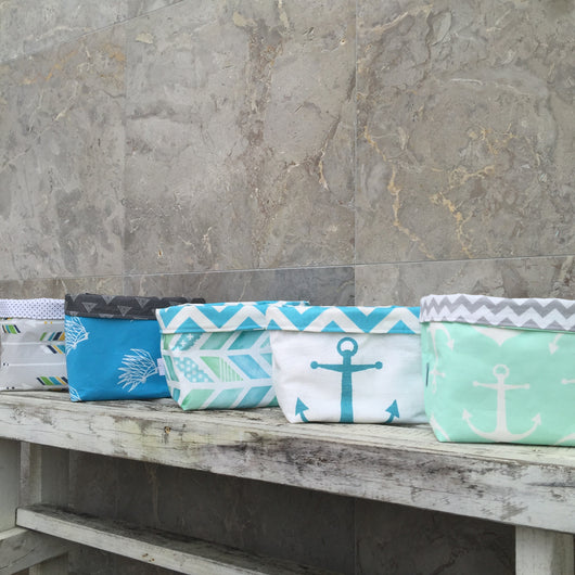 Grey arrow, aqua anchor, blue indian headers, blue/green arrowhead, mint anchor fabric basket
