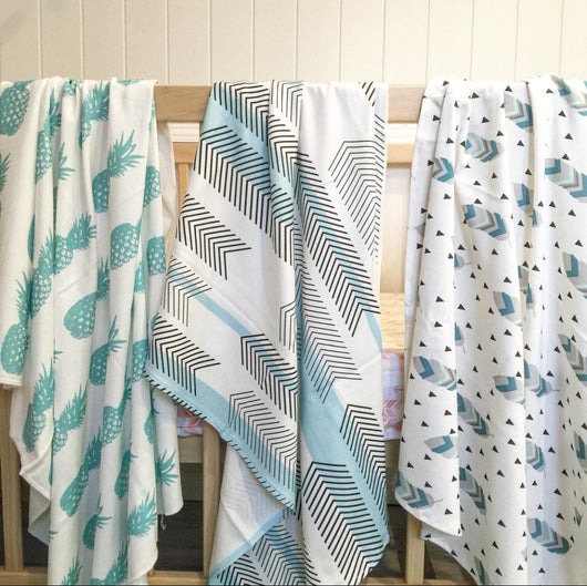Teal pineapple, blue chevron/stripe, teal/mint feather organic cotton knit wrap