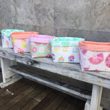 Fairy floss, tossed pineapple, donut, cupcake, grapefruit fabric basket