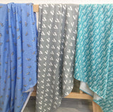 Blue zebra,  grey fox, teal arrow jersey cotton knit wrap