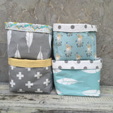 Blue fawn, grey feather, grey cross, blue feather fabric basket