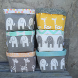 Yellow giraffe, Grey elephant, grey giraffe fabric baskets