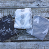 Charcoal arrow, grey pineapple, grey teepee bassinet/change table sheet