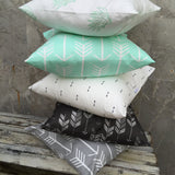 Mint arrow, mint Indian headdress, navy arrow, charcoal arrow, grey arrow cushion cover