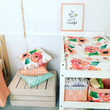 Peach floral, Mint/pink feather bassinet/changemat sheet