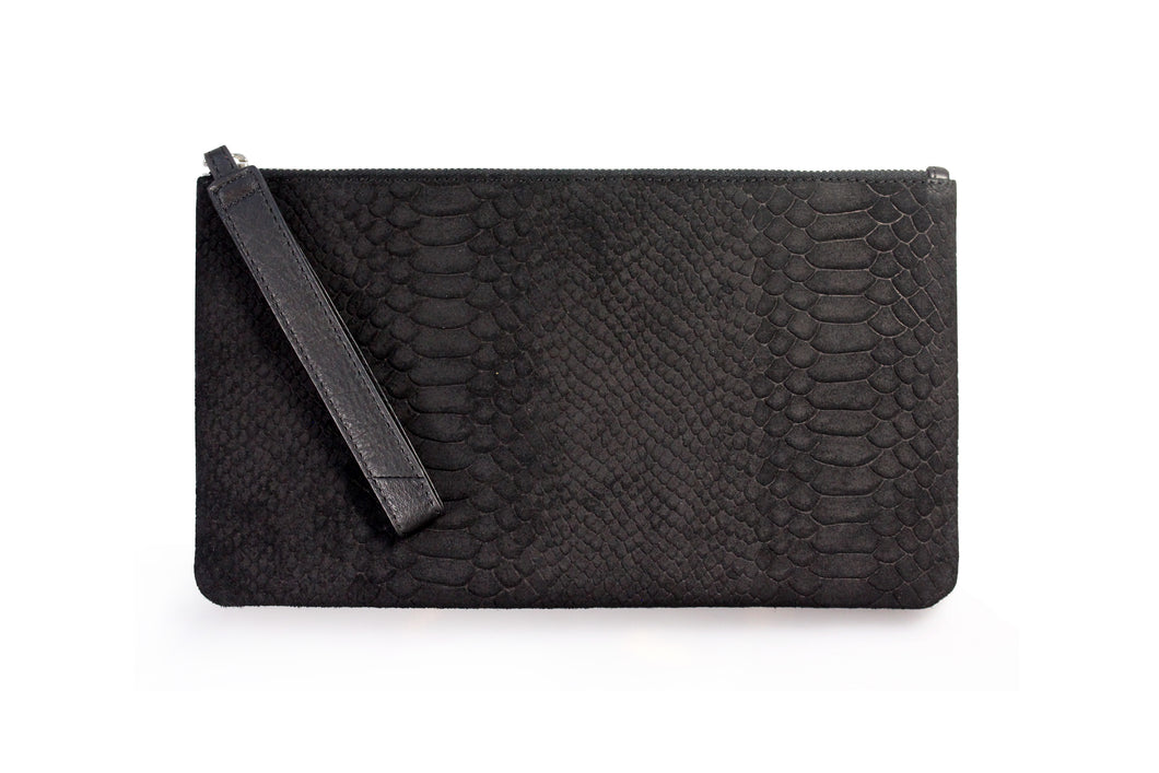 Edith Zip Clutch - Black Python