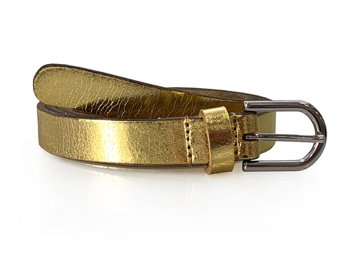 Charlie - Gold Metallic Skinny Leather Belt