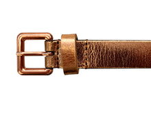 Holly - Rose Gold Metallic Skinny Leather Belt