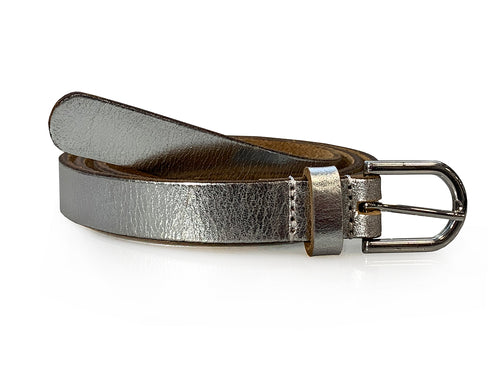 Suzie - Silver Metallic Skinny Leather Belt