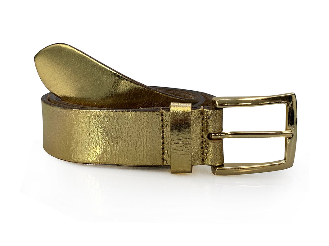 Hannah - Gold Metallic Leather Jeans Belt