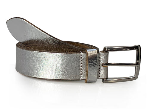 Emma - Silver Metallic Leather Jeans Belt