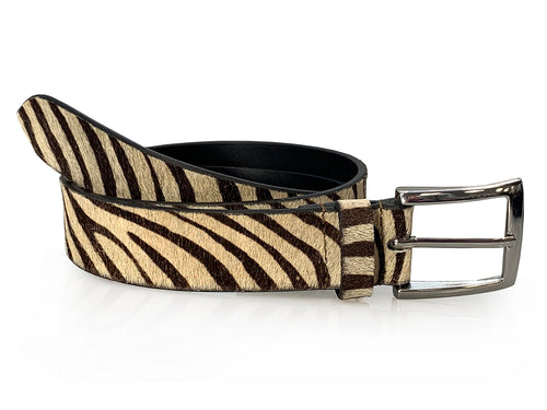 Erin - Zebra Print Leather Jeans Belt