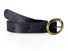 Mia - Snake Print Skinny Leather Belt