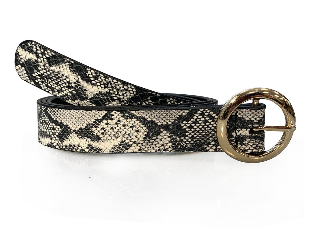 Olivia - Snake Print Skinny Leather Belt