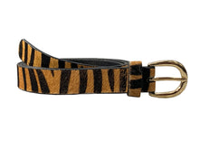 Iro - Tiger Print Skinny Leather Belt