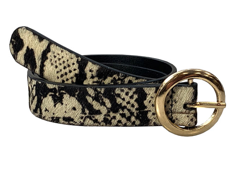 LaLa - Snake Print Skinny Leather Belt