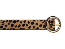 Nina - Cheetah Print Skinny Leather Belt
