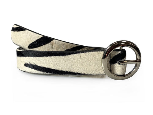 Dana - Zebra Print Skinny Leather Belt