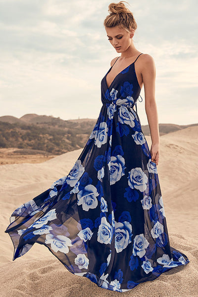Only in Dreams Navy Blue Floral Print Maxi Dress - Lulus