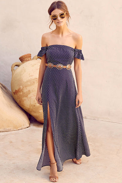Dream Love Navy Blue Polka Dot Off-the-Shoulder Maxi Dress - Lulus