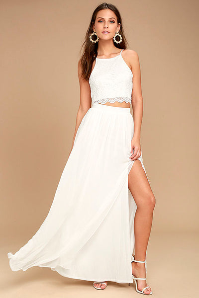 Midnight Memories White Lace Two-Piece Maxi Dress - Lulus