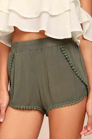 Breeze By Olive Green Embroidered Shorts - Lulus