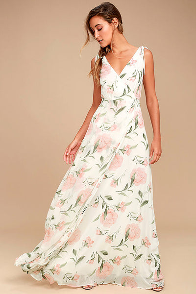 Romantic Possibilities White Floral Print Maxi Dress - Lulus