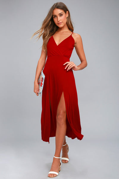 Time to Tango Red Midi Dress - Lulus