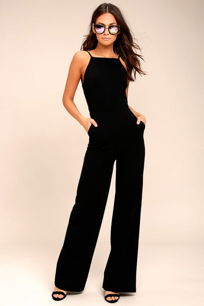 Something to Behold Black Jumpsuit - Lulus