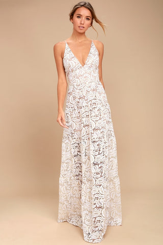 Melina Gold and White Lace Maxi Dress - Lulus
