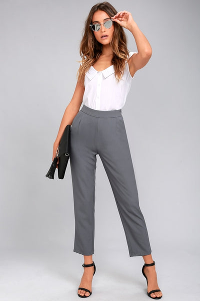 Kick It Grey Trouser Pants - Lulus