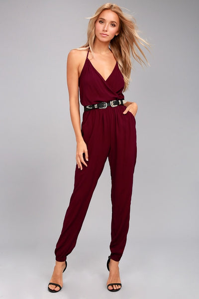 Learning to Fly Burgundy Jumpsuit - Lulus