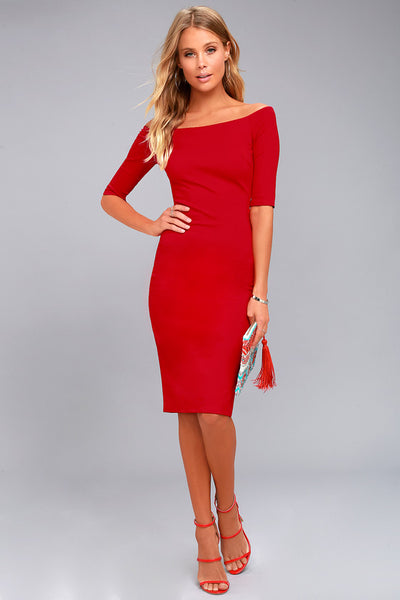 Girl Can't Help It Red Off-the-Shoulder Midi Dress - Lulus