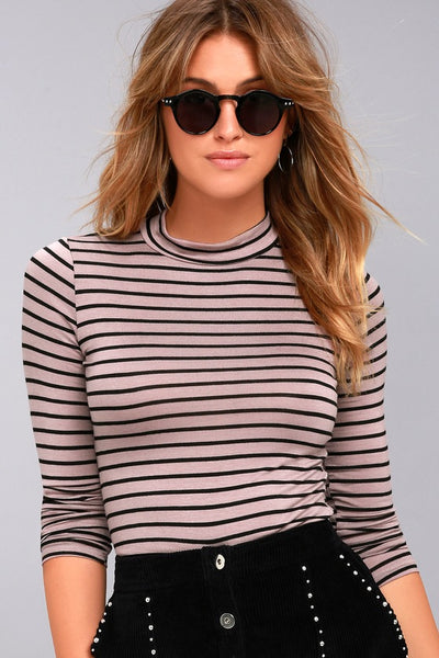 Anything is Posh-ible Mauve Striped Top - Lulus