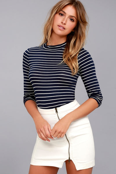 Anything is Posh-ible Navy Blue Striped Top - Lulus