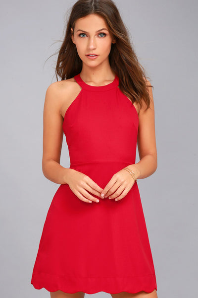 Mamacita Red Halter Skater Dress - Lulus