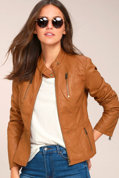 Peace of Mind Tan Vegan Leather Moto Jacket - Lulus