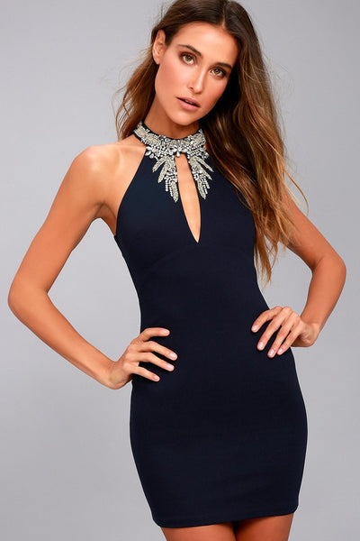 Alluring Evening Navy Blue Beaded Bodycon Dress - Lulus