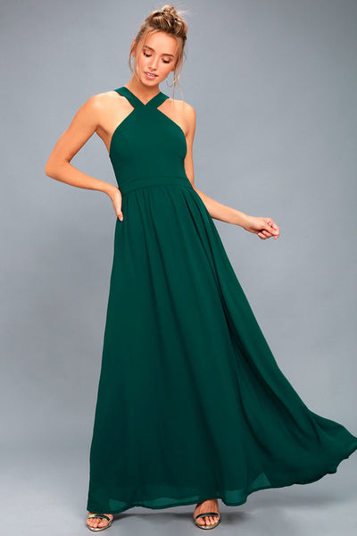 Air of Romance Forest Green Maxi Dress - Lulus