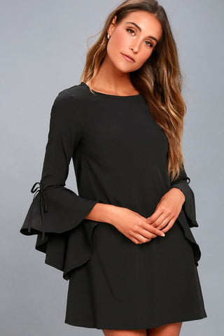 Made for Me Black Flounce Sleeve Shift Dress - Lulus