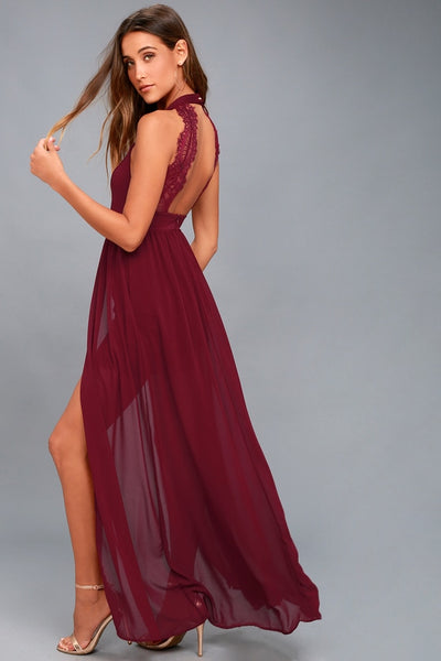 My Beloved Burgundy Lace Maxi Dress - Lulus