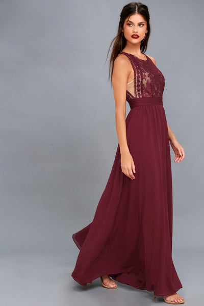 Forever and Always Burgundy Lace Maxi Dress - Lulus