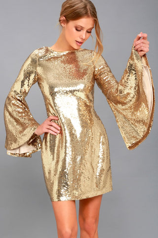 Beaming Belle Gold Sequin Bell Sleeve Dress - Lulus