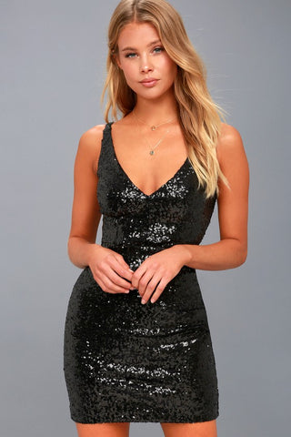 Champagne Showers Black Sequin Bodycon Dress - Lulus