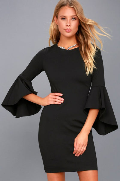 Gimme Some Flair Black Flounce Sleeve Bodycon Dress - Lulus