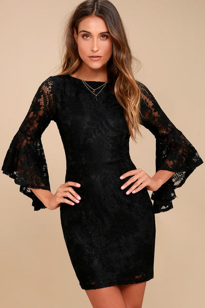 Allure 'Em In Black Lace Flounce Sleeve Dress - Lulus