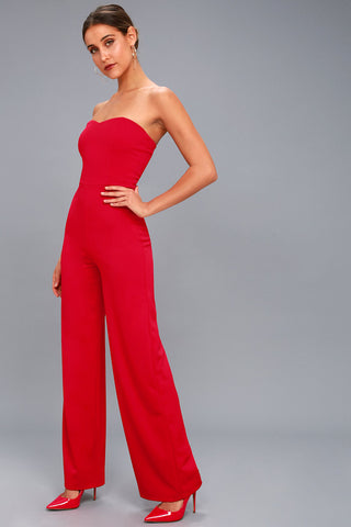 Edith Red Strapless Jumpsuit - Lulus