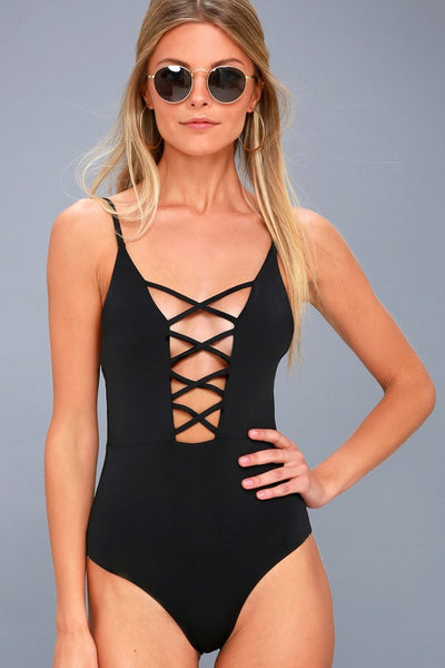 Myrtle Beach Black Lace-Up One Piece Swimsuit - Lulus