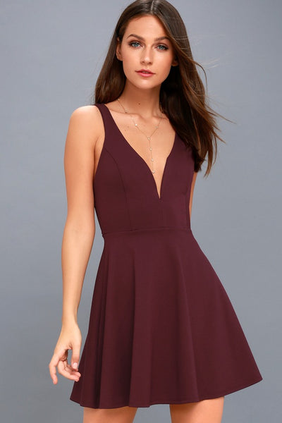 Love Galore Plum Purple Skater Dress - Lulus